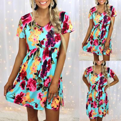Summer New Printed Short-sleeved High-waist Casual Dress  NSZH55710