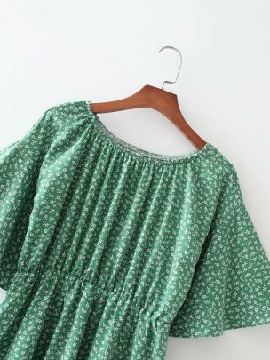 Wholesale Spring Flower Bat Sleeve Waist Dress  NSAM55722
