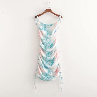 Wholesale Spring Tie-dye Drawstring Suspender Dress NSAM55725