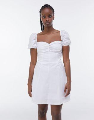 Wholesale Spring Puff Sleeve White Poplin Dress NSAM55766