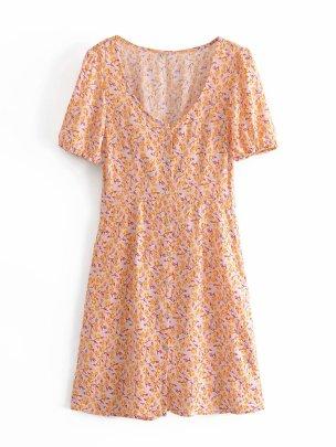 Wholesale Elegant Printing Puff Sleeve Waistband Back Tie Dress NSAM55767