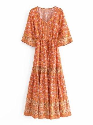 Wholesale New Style Printed Ethnic Style Three-quarter Sleeve Dress NSAM55773