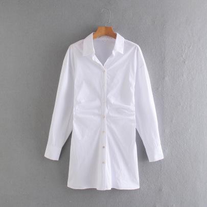 Wholesale Spring Pleated Poplin Shirt Dress  NSAM55779