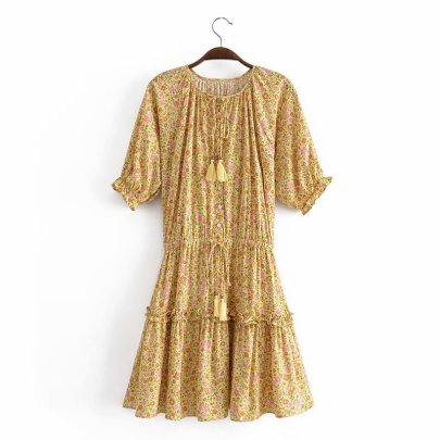 Wholesale Spring Cotton Water Print Fringed Short-sleeved Dress NSAM55780