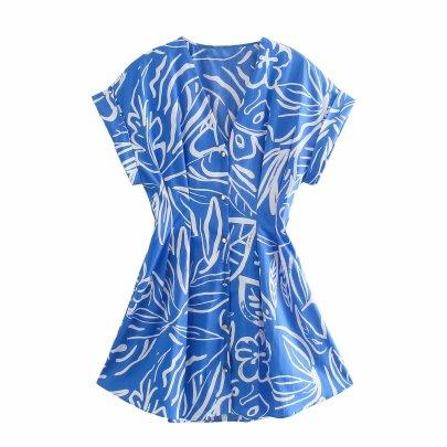 Wholesale Spring Print Fashion Comfortable Pure Color Dress  NSAM55783