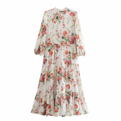 Wholesale Spring Flower Printed Shirt Long-sleeved Dress NSAM55784