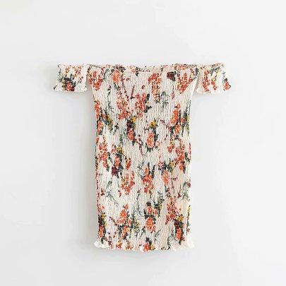 Wholesale New Print Short Sleeve Hip Dress NSAM55785