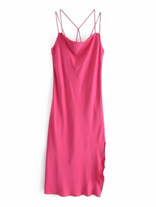 Wholesale Satin Sleeveless Thin Sling Halter Mid-length Dress NSAM55789