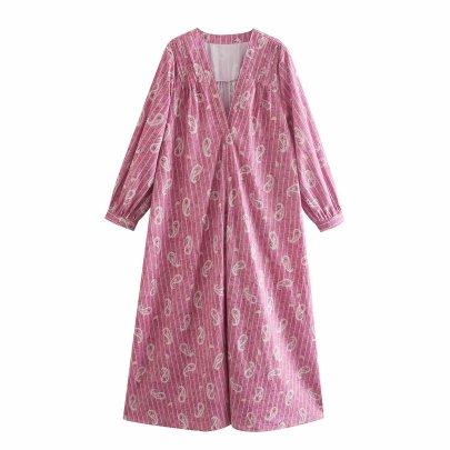 Wholesale Spring Peris Printed Long-sleeved Dress NSAM55794