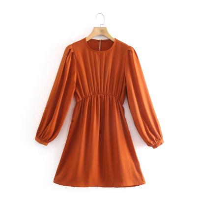 Wholesale Spring Silk Satin Texture Long Sleeve Dress  NSAM55800