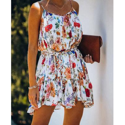 Summer New Printed Ruffled Sling Dress NSJIM56108