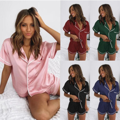 Spring And Summer New Imitation Silk Pajamas NSYIS56094