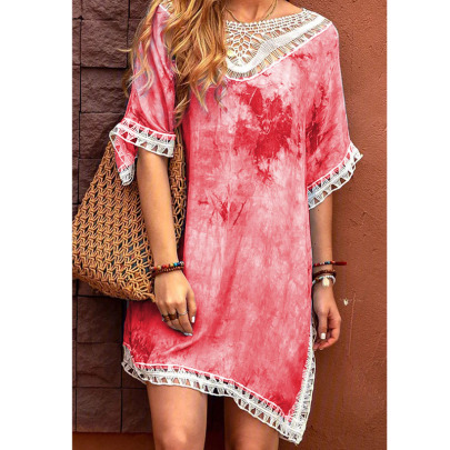 Spring And Summer New Round Neck Print Tie-dye Lace Dress  NSYIS56091