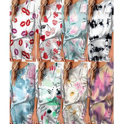 Spring And Summer New Printed Ice Silk Thin Print Short-sleeved Shorts NSYIS56089