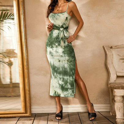 Spring And Summer New Sling Split Mid-length Dress NSYIS56075