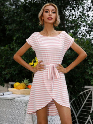 Striped Knitted Waist Dress NSSUO56070
