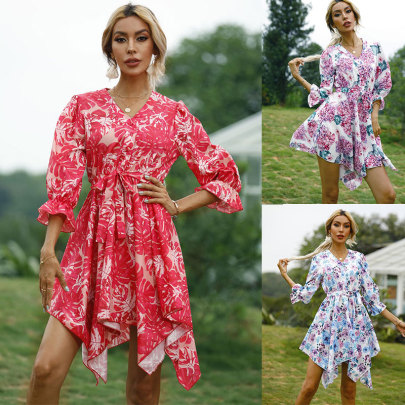 Printed Waist Five-point Sleeve Dress NSSUO56069
