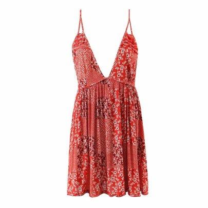 Wholesale Slim And Thin V-neck Suspender Halter Printed Dress NSAM56009