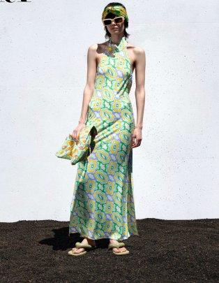 Wholesale Spring Long Printed Midi Halterneck Dress NSAM56014