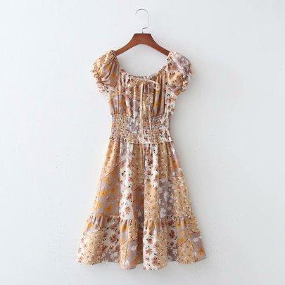 New Comfortable Wholesale Spring Elastic Drawstring Dress  NSAM56017