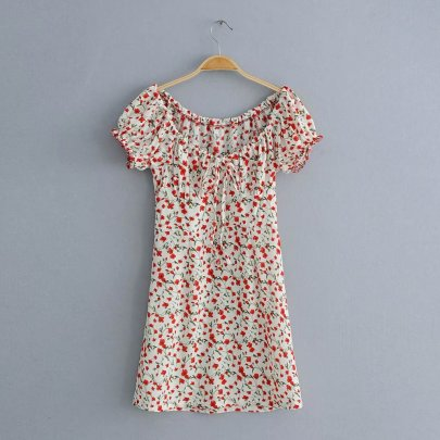 New Wholesale One-neck Strapless Lace-up Short-sleeved Retro Small Floral Dress NSAM56020