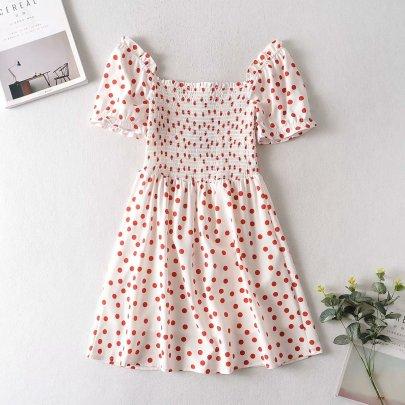 New Wholesale New Square Collar Elastic Bust White Polka Dot Print Dress NSAM56021