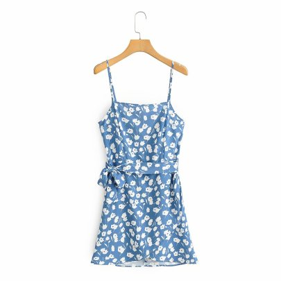 Wholesale New Style Sling Print Halter Lace-up Waist Dress NSAM56023