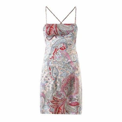Wholesale Retro Print Halter Strap Holiday Beach Suspender Skirt  NSAM56024