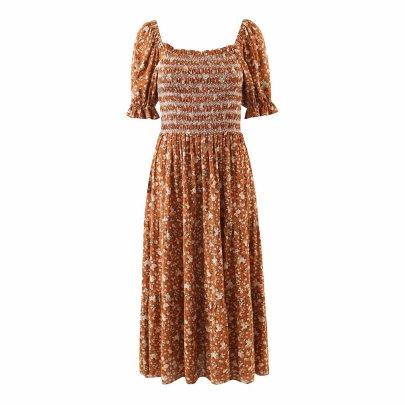 Wholesale Retro One-piece Floral One-shoulder Printed Dress NSAM56025