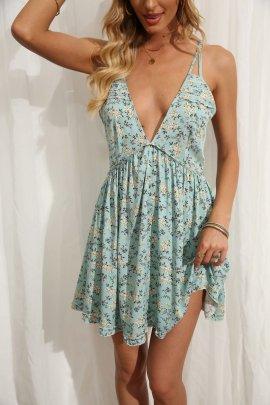 Wholesale V-neck Floral Waist Halter Holiday Sling Beach Dress NSAM56026