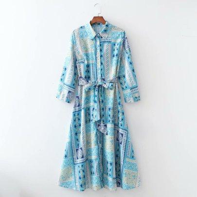 Wholesale Spring Long Sleeve Shirt Belt Size Long Dress NSAM56028