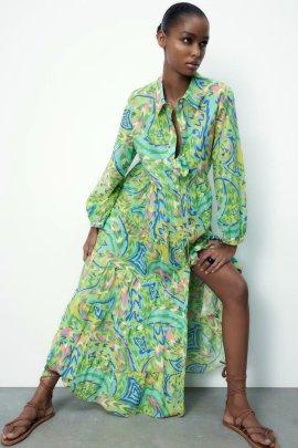 Wholesale Spring Print Long-sleeved Shirt Dress NSAM56030