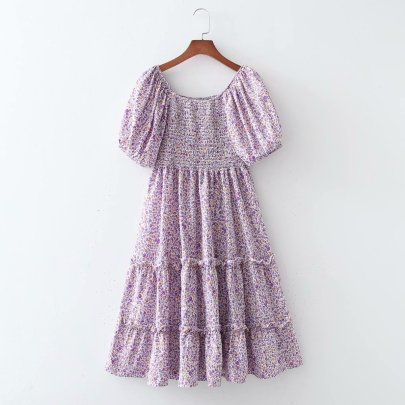 Wholesale Spring Elastic Wrap Chest Large Swing Dress  NSAM56031