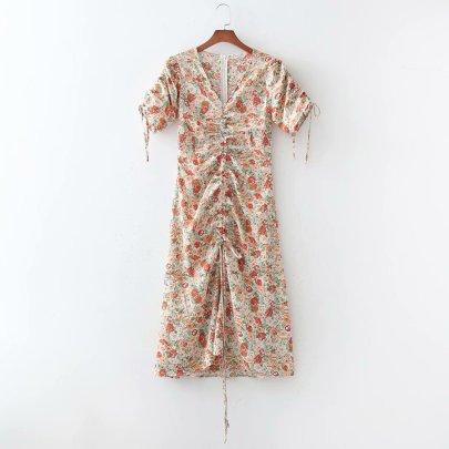 Wholesale Spring Drawstring V-neck Dress NSAM56044