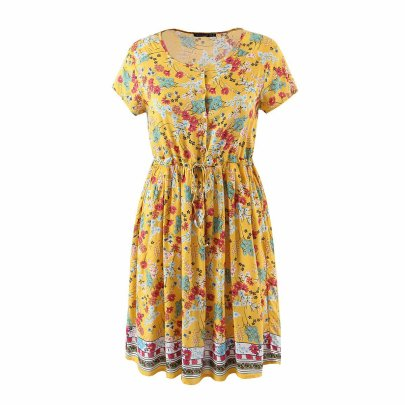 Wholesale Printed Single-breasted Waistband Round Neck Short-sleeved Dress  NSAM56046