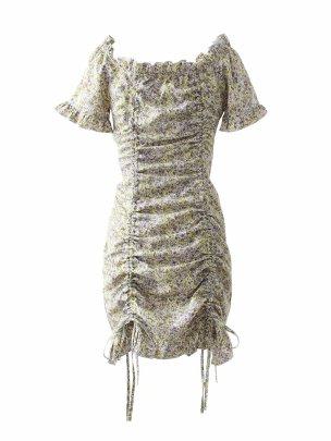 Wholesale Spring Drawstring Pleated Off-shoulder Dress  NSAM56053