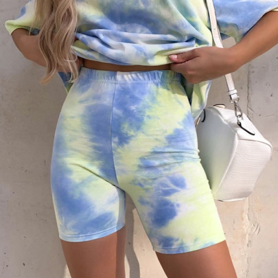 Fashion High Waist Elastic Tie-dye Shorts NSRUI56160