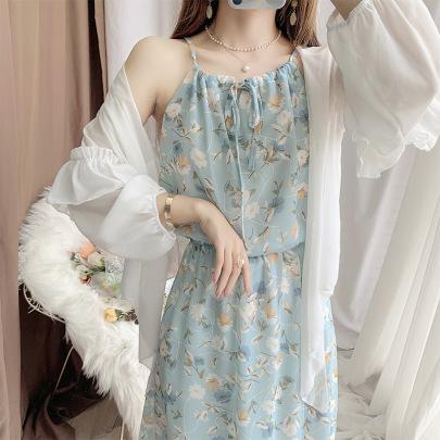 White Chiffon Cardigan Floral Suspender Dress NSFYF56254
