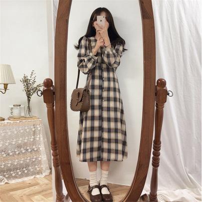 Plaid Waist Mid-length Dress  NSFYF56255