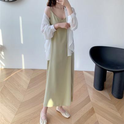 Summer Sling Bottom Long Chiffon Dress NSFYF56262