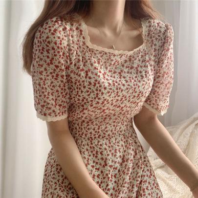 Retro Mid-length Square Collar Slim Floral Dress  NSFYF56264