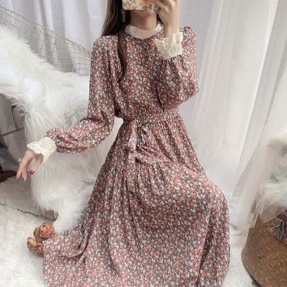 Temperament Mid-length Floral Dress  NSFYF56267