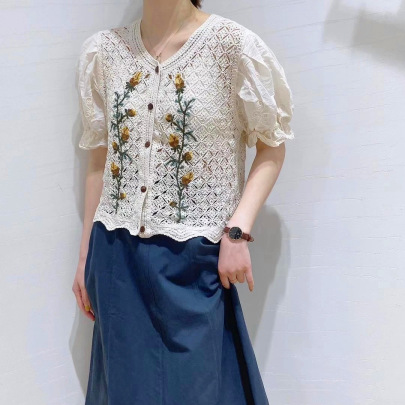 Fashion Embroidery Knitted Short-sleeved Top NSFYF56270