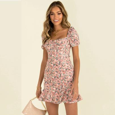 Summer Fashion Square Neck Print Slim Fishtail Short Dress NSJC56362