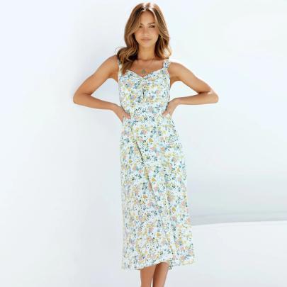 Fashion Sling Small Floral Hem Printed Split Dress NSJC56361