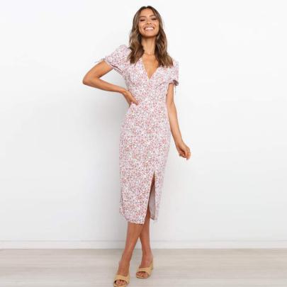 New Short-sleeved V-neck Printed Dress  NSJC56359