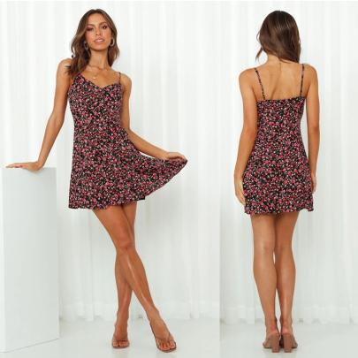 Summer Small Floral Sling Sleeveless Short Dress NSJC56357