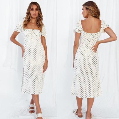 New Short-sleeved Lace-up Square-neck Polka-dot Hem Slit Dress NSJC56355