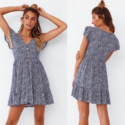 Fashion Short-sleeved V-neck Floral Big Swing Dress NSJC56354