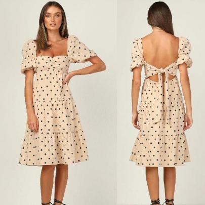 Fashion Short Sleeve Open Back Polka Dot Printed High Waist Dress NSJC56353